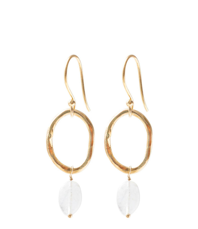 A Beautiful Story-Earrings - Graceful Moonstone Gold Plated Earrings - White