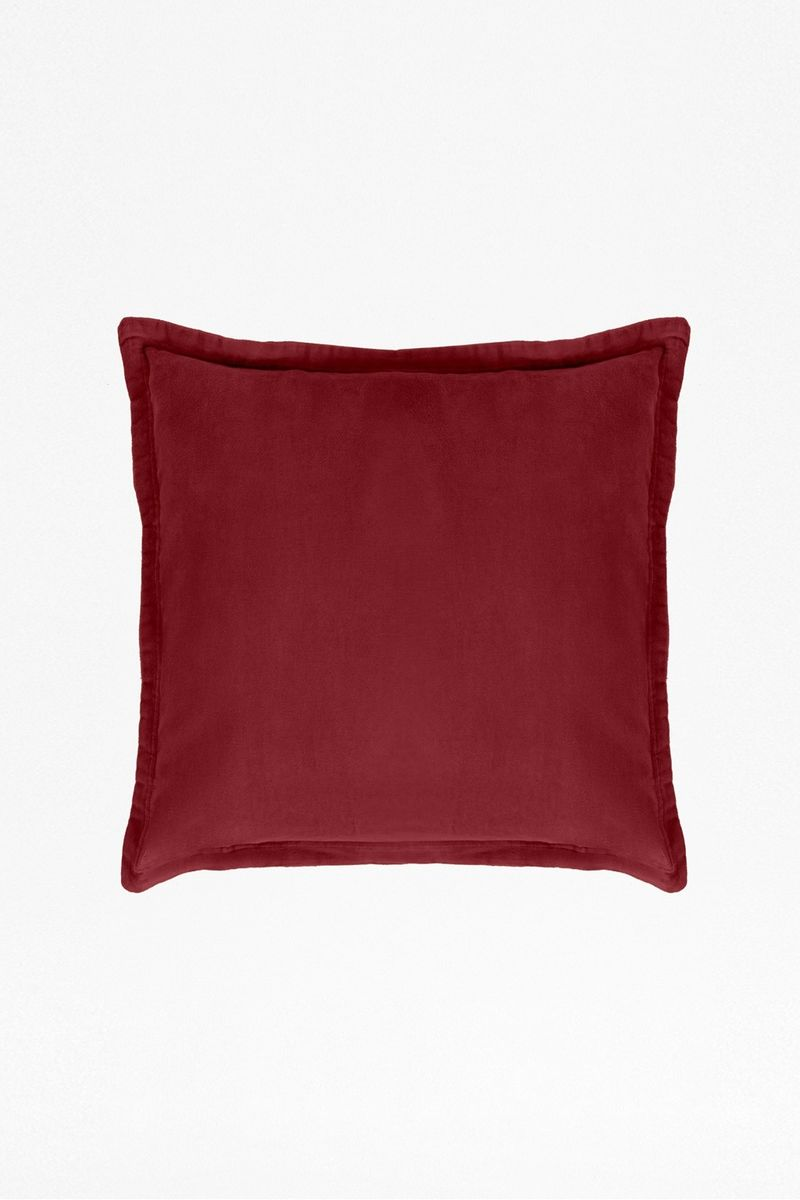 Washed Velvet Cushion - chilli red