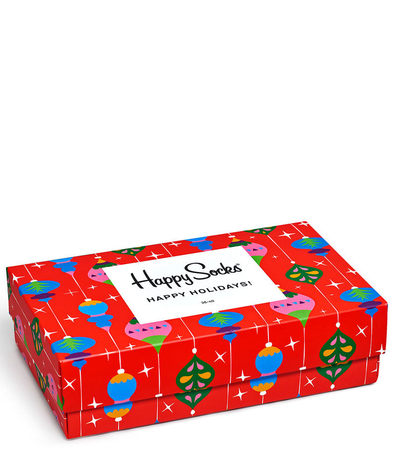 Happy Socks-Socks - Singing Retro Holiday Gift Box - Red