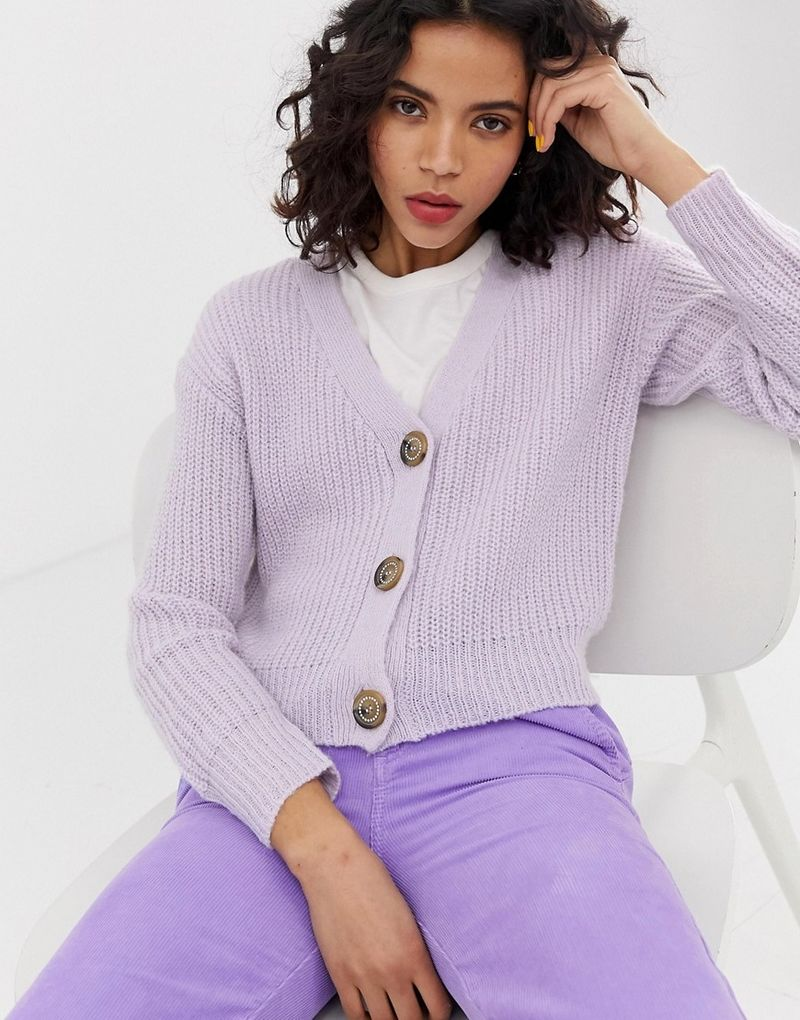 River Island cardigan with jewelled buttons in lilac-Purple