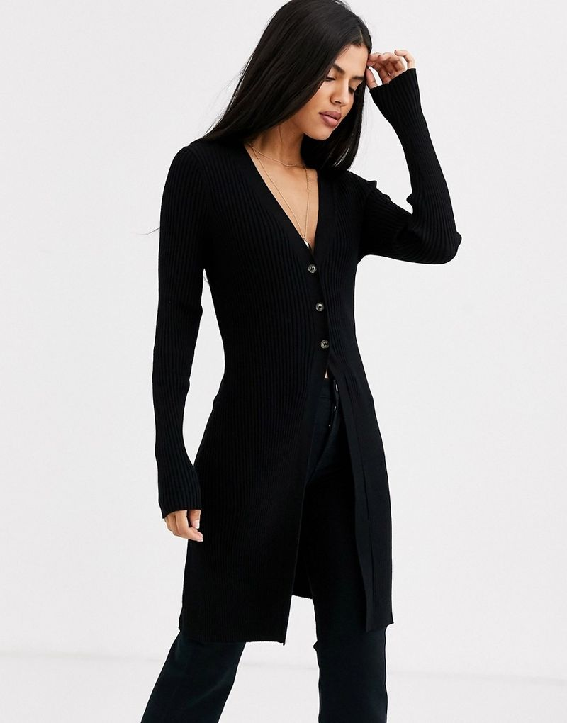 & Other Stories ribbed midi cardigan in black