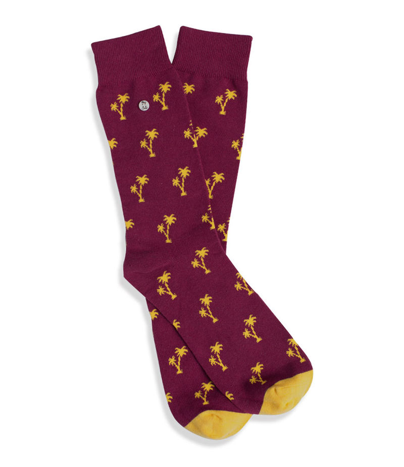 Alfredo Gonzales-Socks - Palm Springs Stay Gold Colored - Red