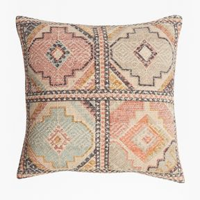 Pink Tile Cushion - pink natural mix