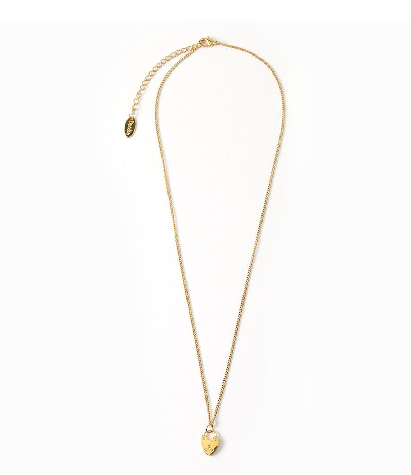 Orelia-Necklaces - Heart Padlock Charm Necklace Giftbox - Gold-coloured