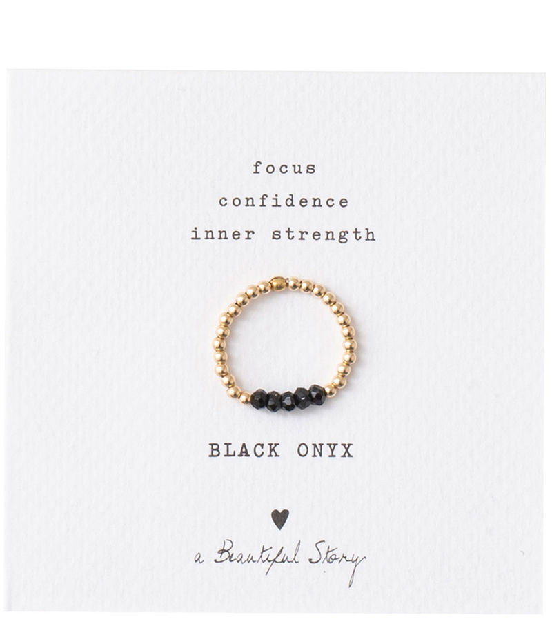 A Beautiful Story-Rings - Beauty Black Onyx Gold Ring S/M - Black