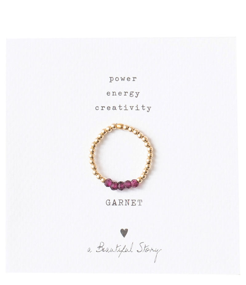 A Beautiful Story-Rings - Beauty Garnet Gold Plated Ring S/M - Red