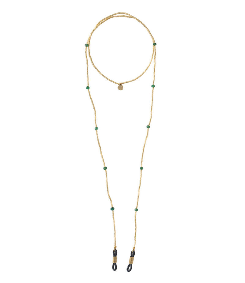 A Beautiful Story-Necklaces - Rainbow Aventurine Gold Glasses Cord - Green
