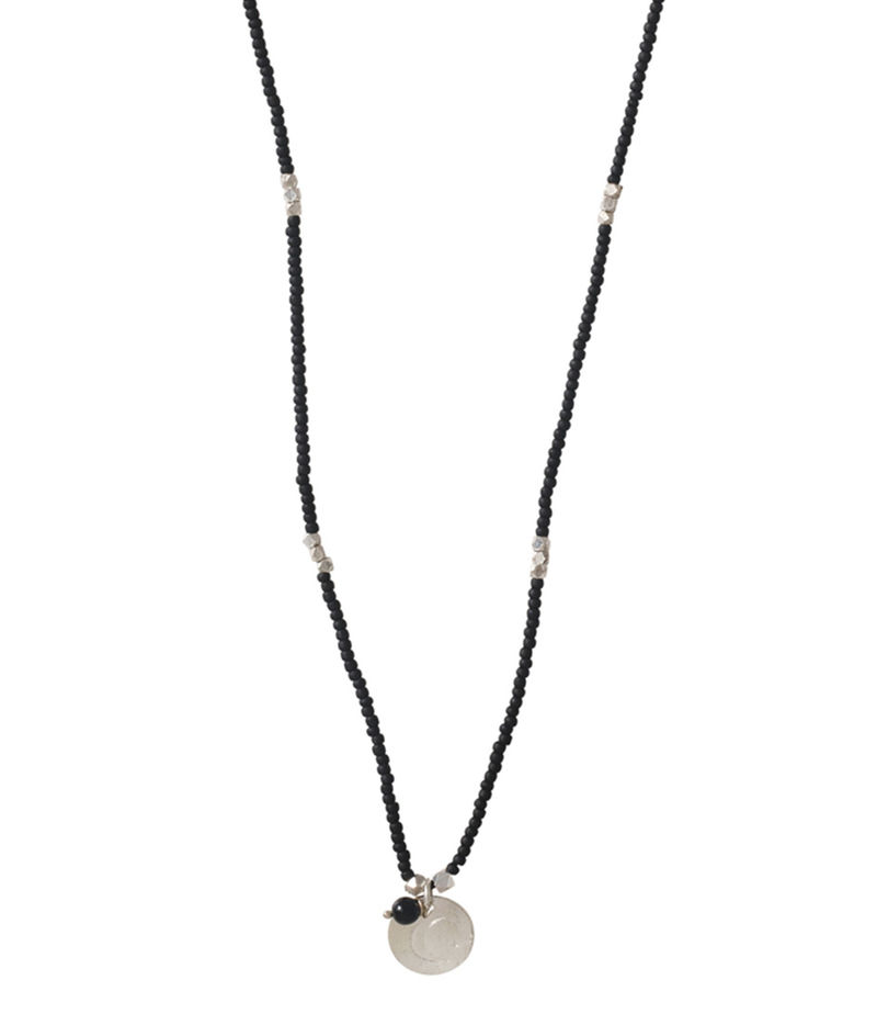 A Beautiful Story-Necklaces - Truly Black Onyx Moon Silver Necklace - Black