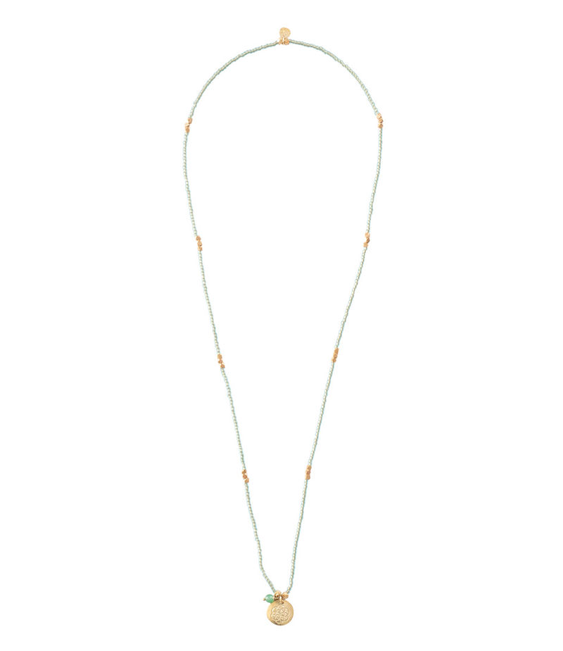 A Beautiful Story-Necklaces - Truly Aventurine Flower of Life Gold Necklace - Green