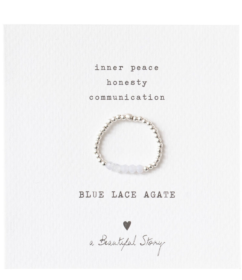 A Beautiful Story-Rings - Beauty Blue Lace Agate Silver Ring S/M - Blue