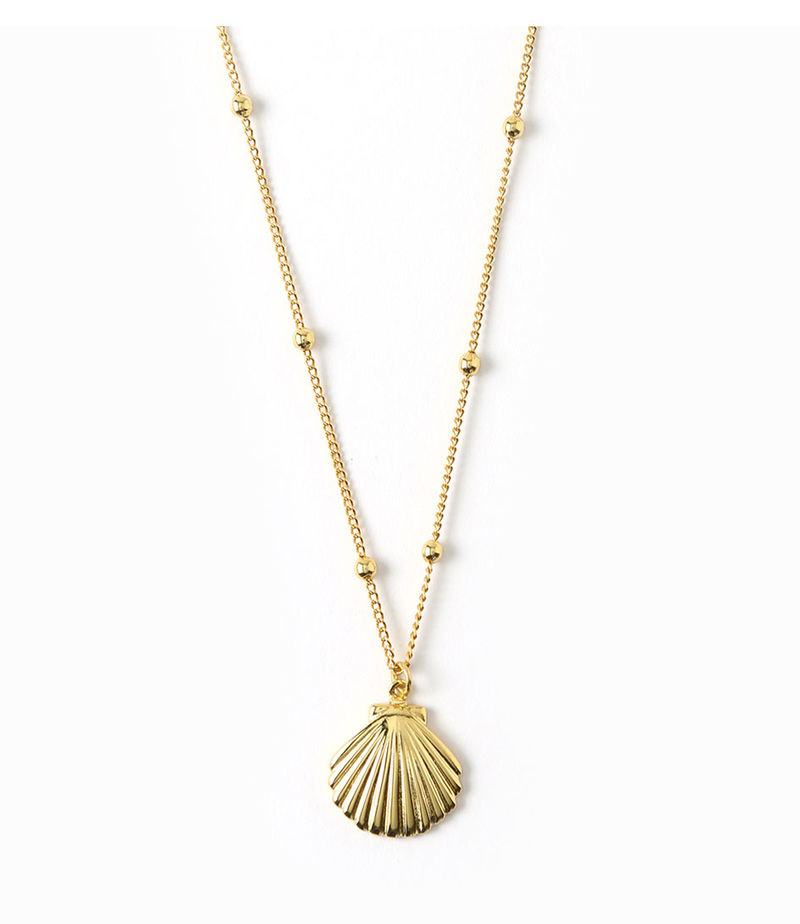 Orelia-Necklaces - Metal Shell Satellite Chain Necklace - Gold-coloured