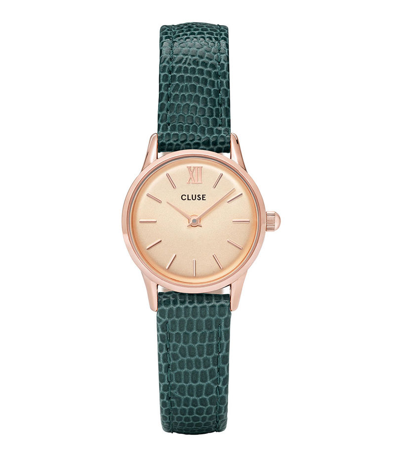 CLUSE-Watches - La Vedette Lizard Rose Gold Plated Champagne - Green