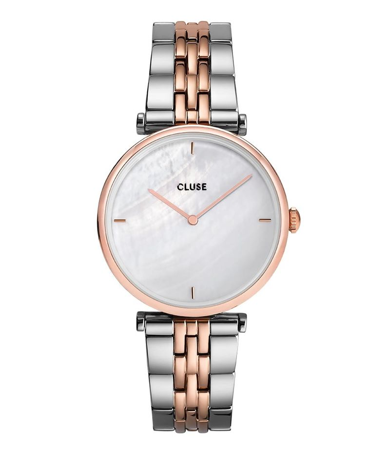 CLUSE-Watches - Triomphe 5 Link Rose Gold Plated White Pearl - Rose (gold) coloured