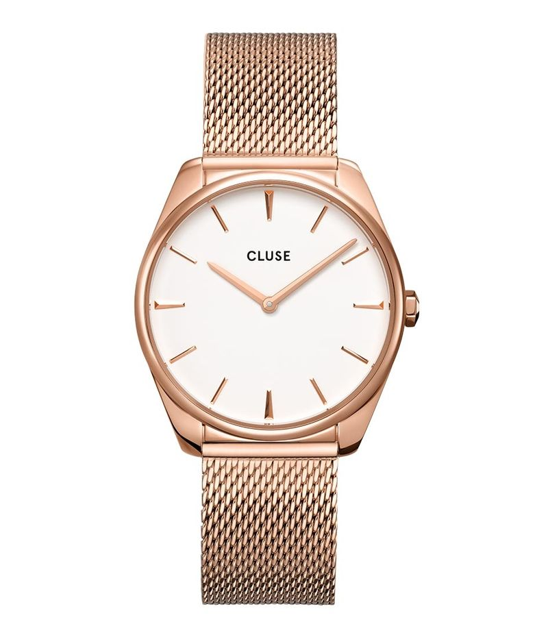 CLUSE-Watches - Feroce Mesh Rose Gold Plated White - Rose (gold) coloured