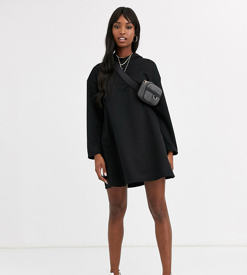 ASOS DESIGN Tall hoodie swing dress with concealed pockets-Black