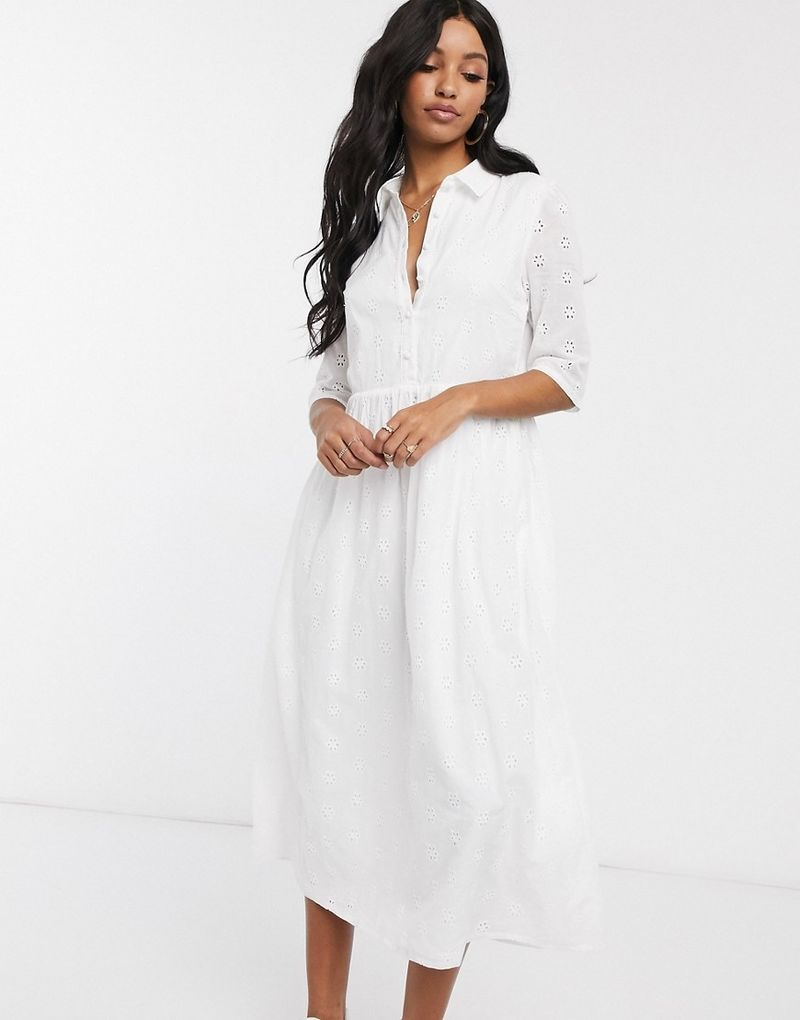 Missguided broderie midi shirt smock dress in white