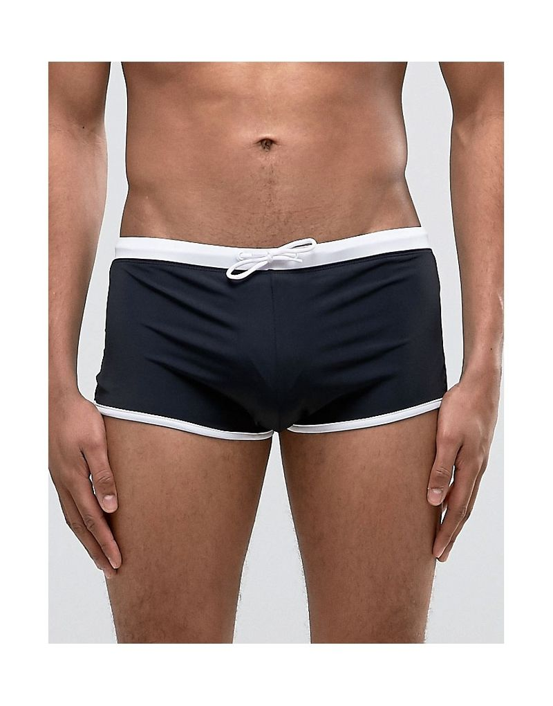 ASOS | ASOS Swim Hipster Trunks In Black With Contrast Waistband - Black