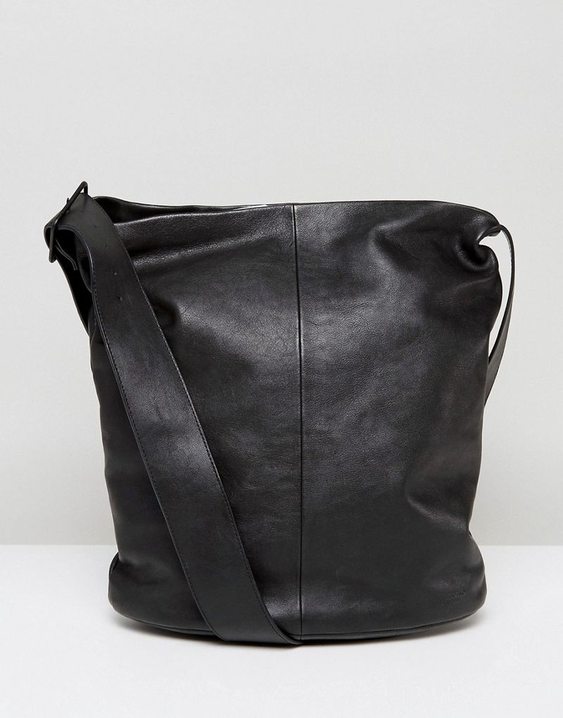 Vagabond | Vagabond Minimal Leather Shoulder Bag With Cross Body Strap - Black