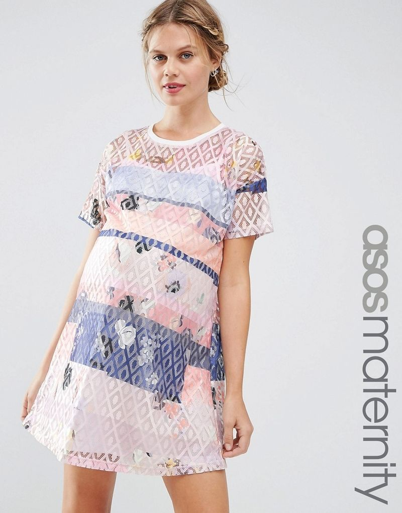 02cb8ab95a4a7 ASOS Maternity | ASOS Maternity Lace Printed Shift Dress With Slip - Multi