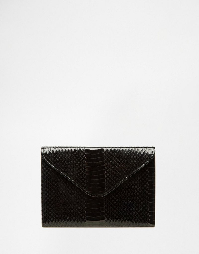 Glamorous | Glamorous Envelope Purse In Faux Snakeskin - Black