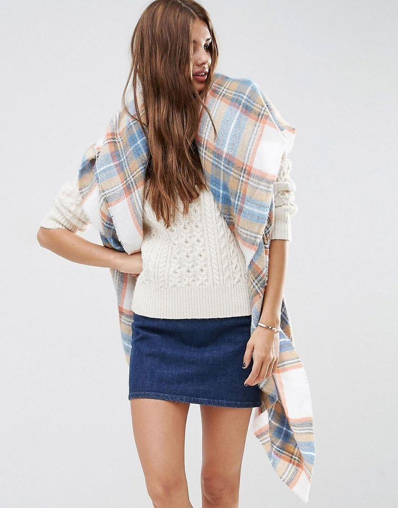ASOS | ASOS Oversized Square Scarf In Natural Check - White