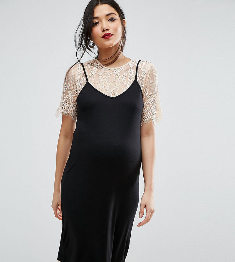 ASOS Maternity | ASOS Maternity Cami Dress with Lace Underlayer - Black