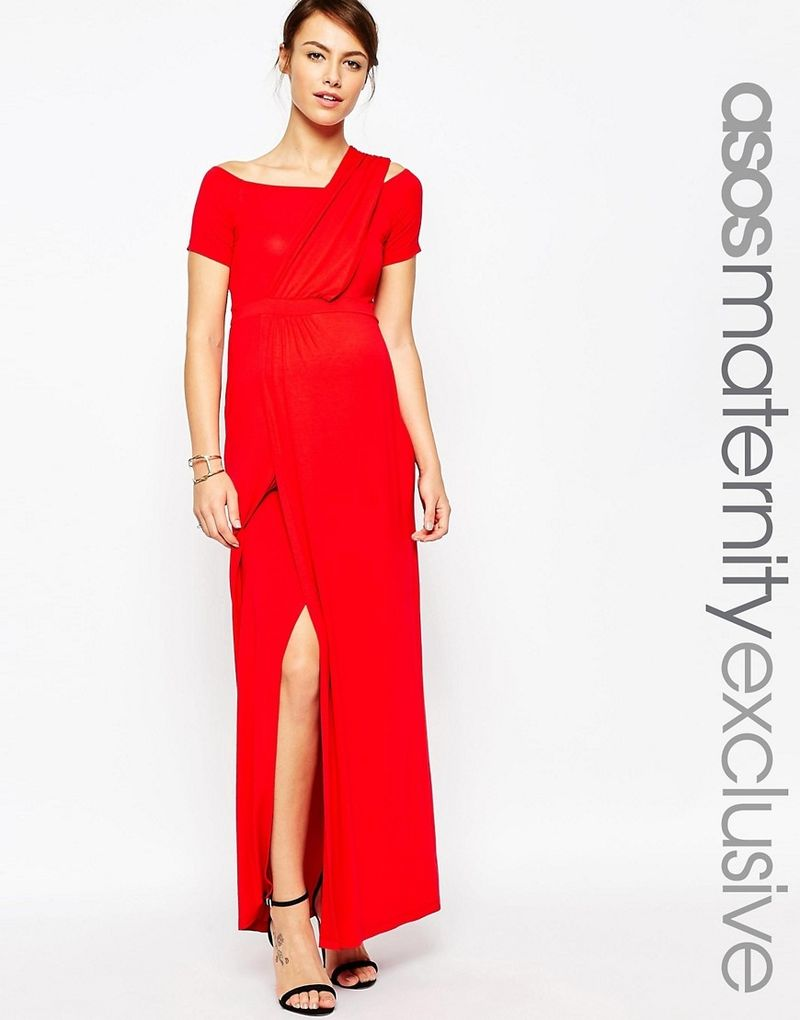 ASOS Maternity | ASOS Maternity Bardot Maxi Dress With One Shoulder - Red