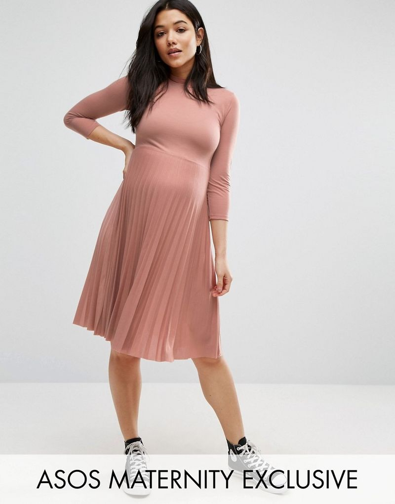 4ddf038e63a90 ASOS Maternity   ASOS Maternity High Neck Midi Dress with Pleated Skirt -  Pink