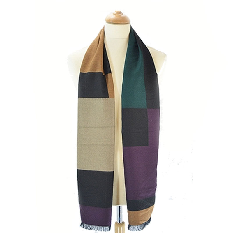 Vyrškas šalikas | Bella Mia Boutique | Bella Mia Simple Colour Block Pattern Frayed Men's Scarf - Cream & Brown