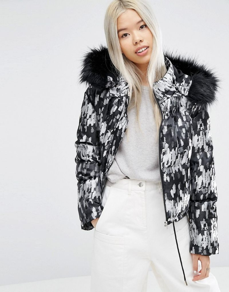 asos white asos white cropped padded jacket with fur hood multi. Black Bedroom Furniture Sets. Home Design Ideas