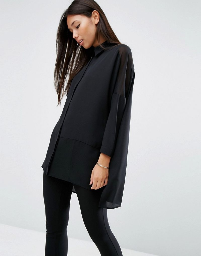 ASOS | ASOS Oversized Blouse With Sheer Inserts - Black