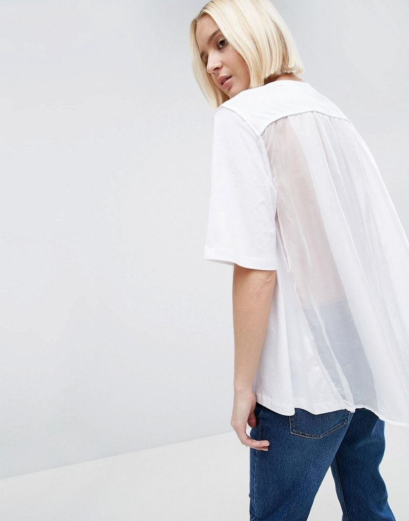 ASOS White | ASOS WHITE Tulle Cape Back T-Shirt - White