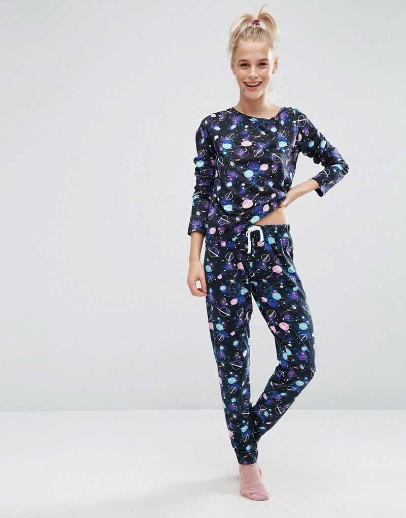 ASOS | ASOS Galactic Space Print Long Sleeve T-Shirt & Legging Pyjama Set - Multi