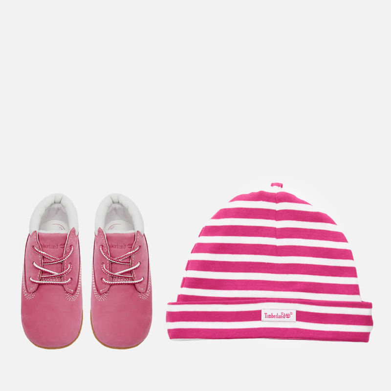 Timberland | Timberland Babies' Crib Booties with Hat Gift Set - Fuchsia Rose - UK 0.5 Baby - Pink