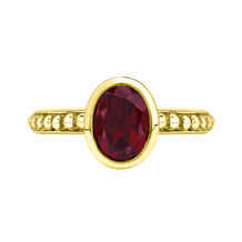 18ct Yellow Gold Oval Garnet Granular Dotty Twinkle Ring
